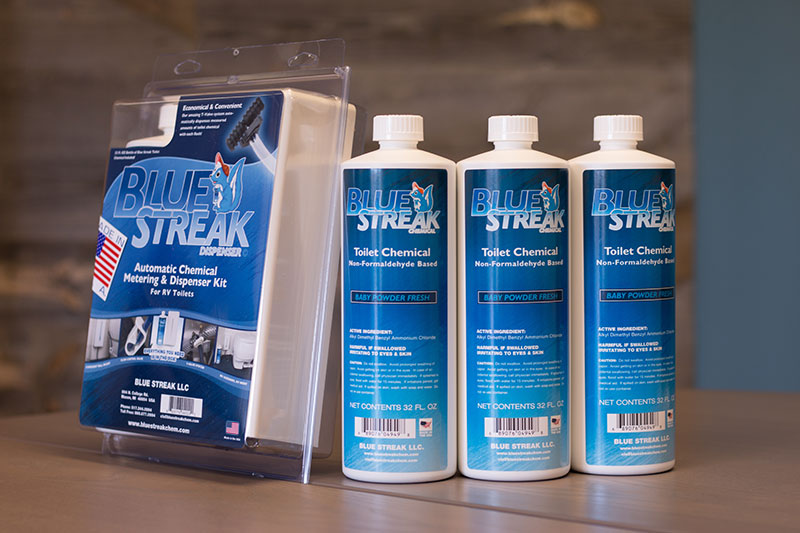 Blue Streak Dispenser + 3 bottles