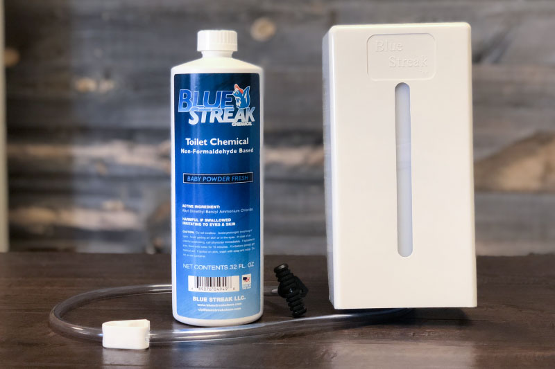 Blue Streak Dispenser and 1 bottle